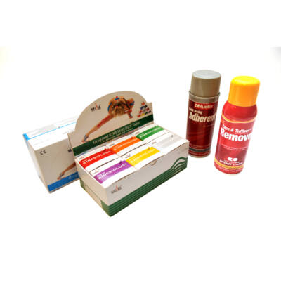 Nasara kineziológiai tapasz 6-os csomag (tetszőleges színekben) + nagy Mueller ragasztó spray + nagy Mueller leoldó spray