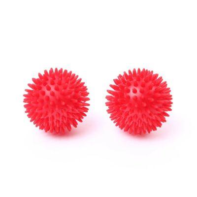 66fit 8cm-es tüskés masszírozó labda - rugalmas (2db-os szett) - piros